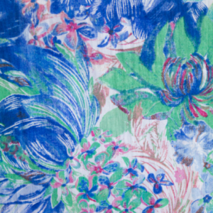 Woven fabric with flower print
