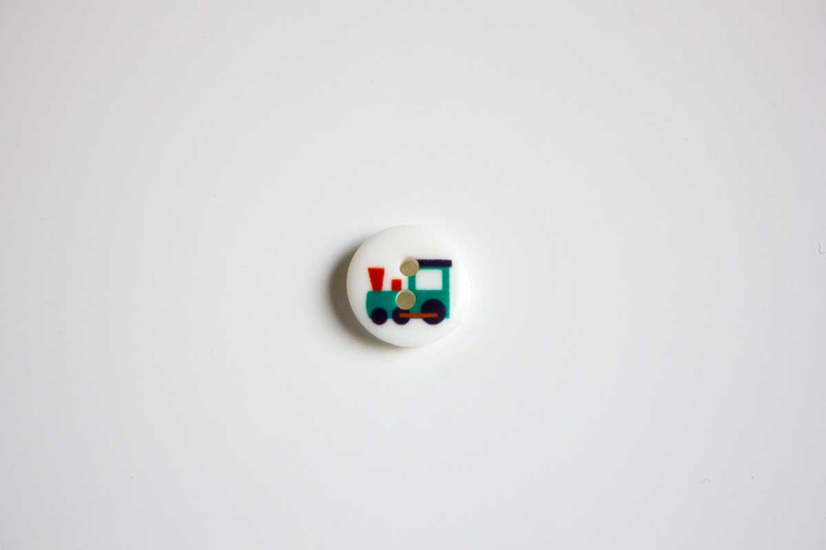 BUTTON WITH TRAIN DRAWING