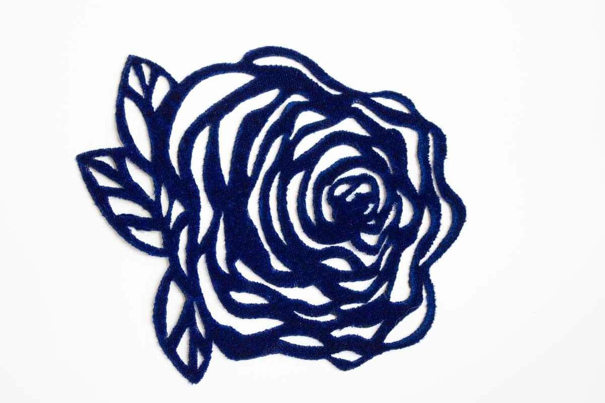 LAZER CUT ROSE PATCH – BLUE