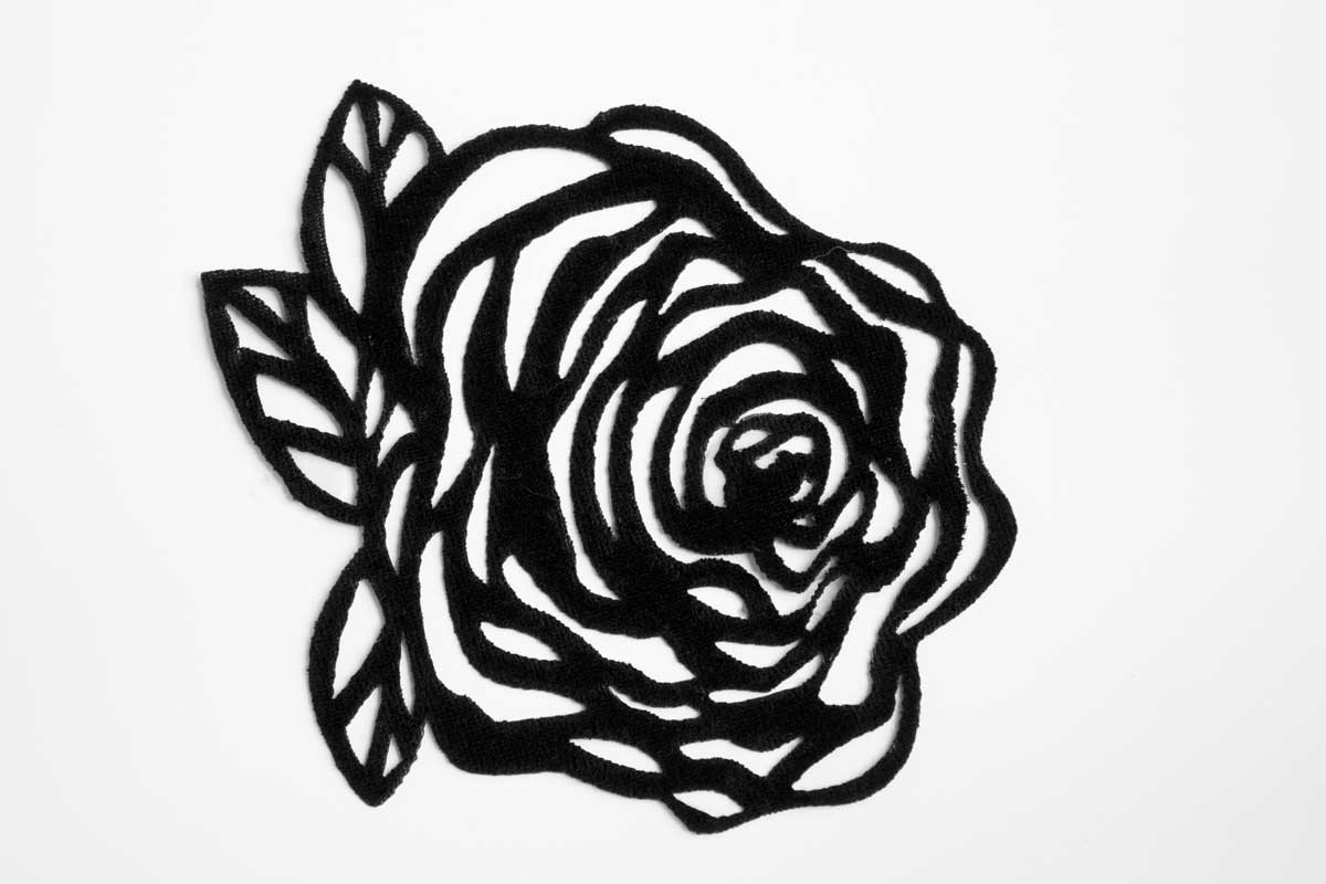 LAZER CUT ROSE PATCH – BLACK