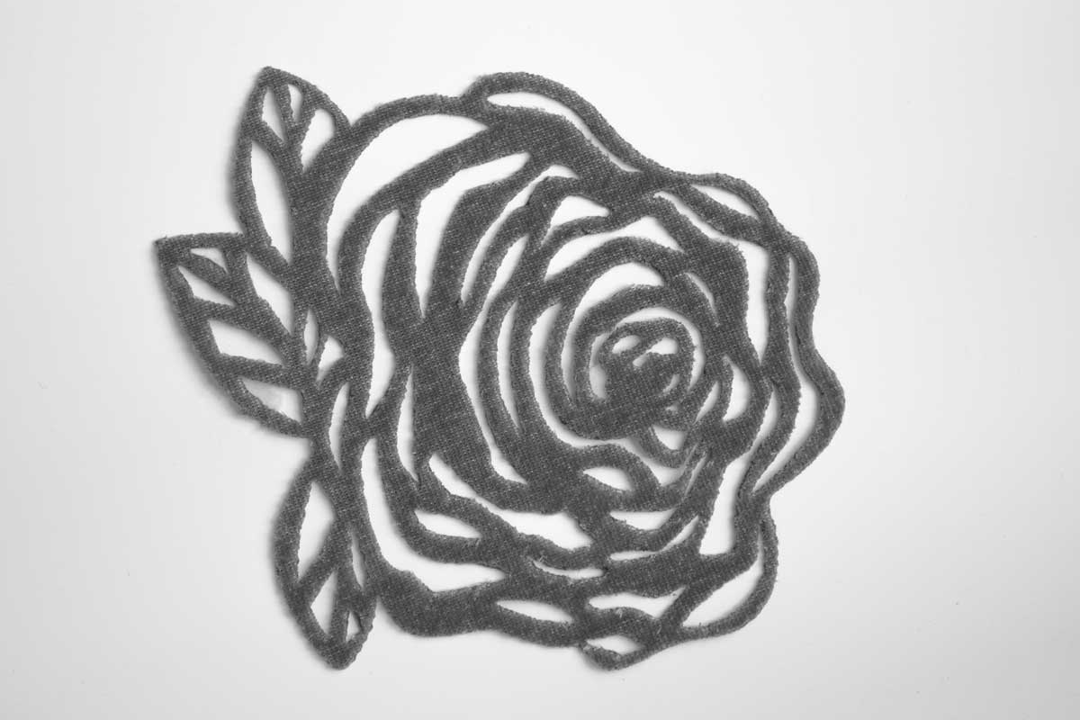 LAZER CUT ROSE PATCH – GREY
