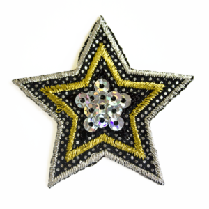 79SQ2551C gold, silver, black star