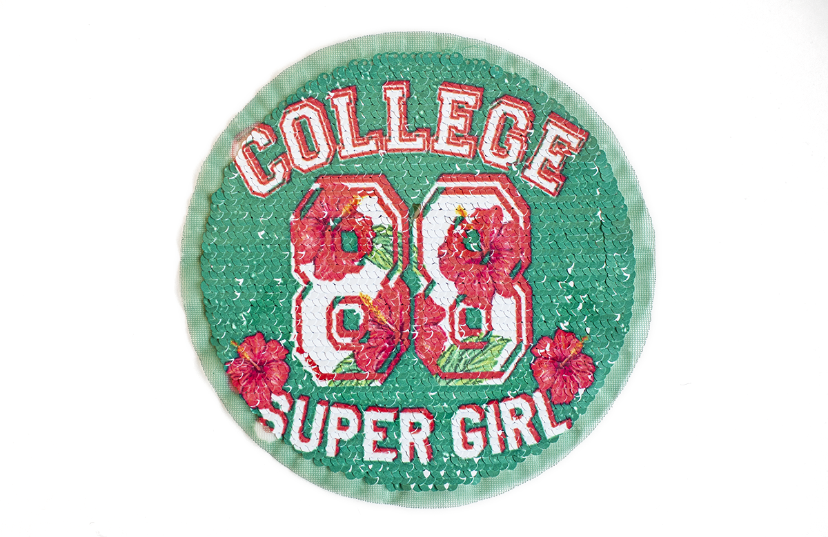 COLLEGE SUPER GIRL PATCH W/SEQUIN