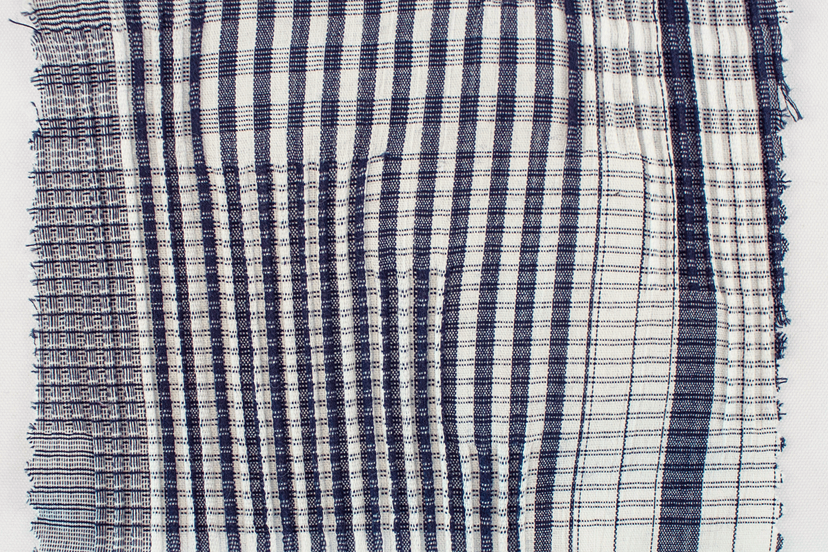 CRINKLED COTTON CHECK NAVY