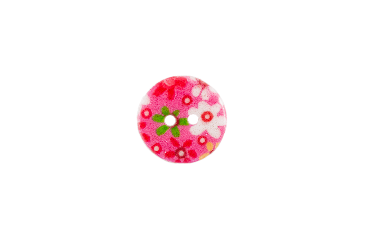 2 HOLE PINK BUTTON W/ FLOWERS
