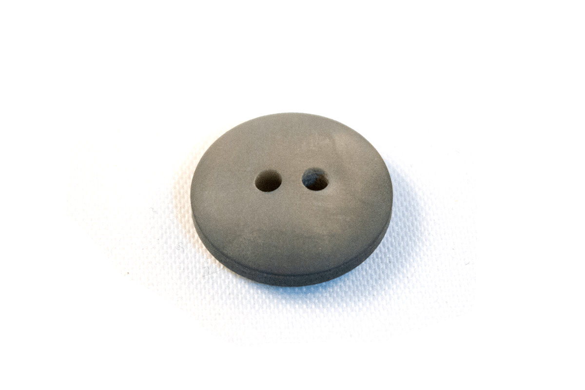 2 HOLE LIGHT GREY CURVED BUTTON WITH A MOTHER OF PEARL LOOK